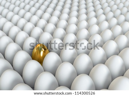 Golden egg standing out from the others. Conceptual illustration. 3d render