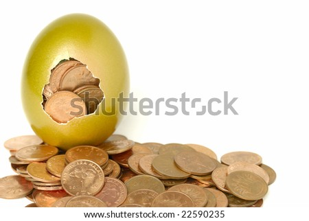golden egg with coins - stock photo