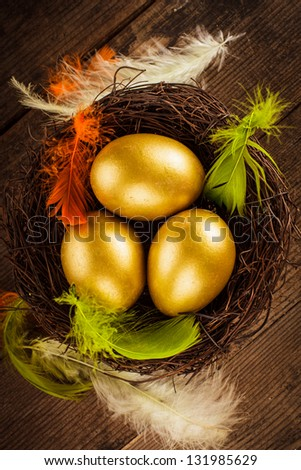 golden eggs in the nest over wooden background with copy text