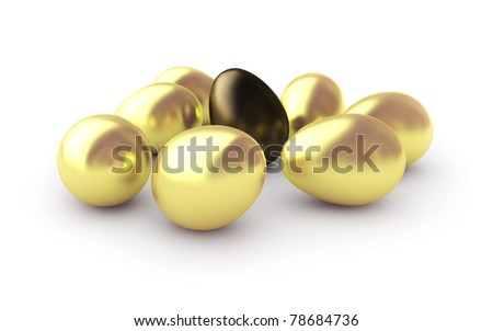Golden eggs, isolated on white background.