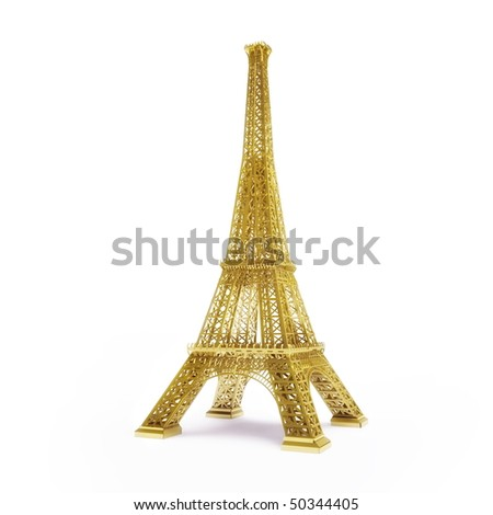 Golden Eiffel Tower isolated on white background