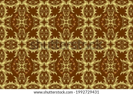 Golden elements on yellow, neutral and brown colors. Stylish graphic pattern. Floral pattern. Seamless raster background. Wallpaper baroque, damask.