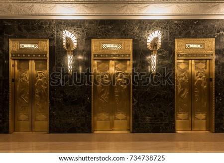 golden elevators with relief...