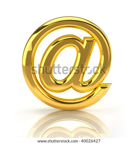 Golden email sign. Front view.