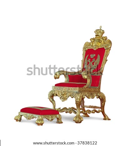 Golden emperor's Throne. Isolated on white with clipping path