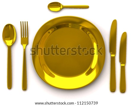 Golden empty plate with fork, spoon and knife on white - stock photo