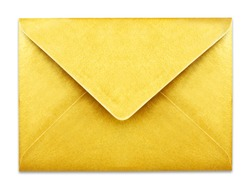 Golden envelope with copy space, isolated on white background. Shiny gold envelopes, greeting card or invitation mailing.