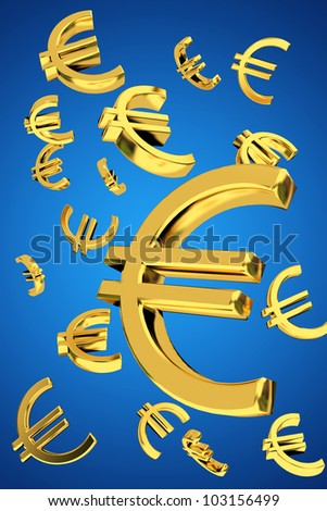 Golden euro falling money concept floating 3d