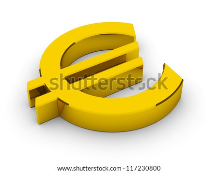 Golden Euro Symbol / 3D render