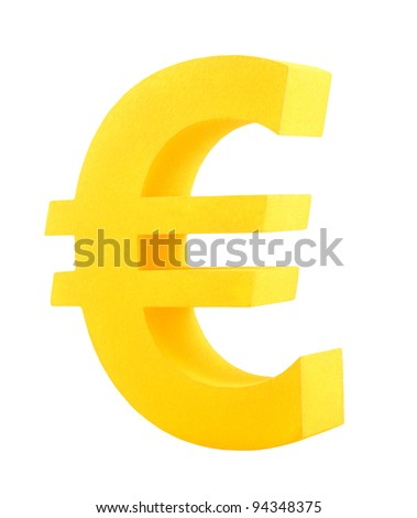 Golden euro symbol isolated on white