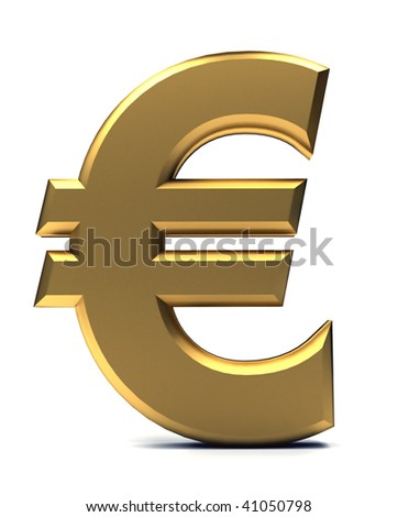 Golden euro symbol isolated over a white background
