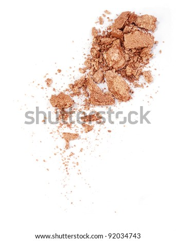 golden eyeshadow isolated on white