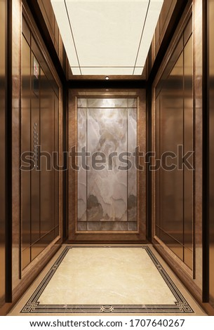 Golden fashion lift doors. Office hallway with closed, half closed and open elevator cabins.office building elevator 3D render, 3D image. Inside the elevator
