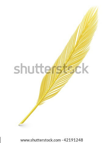 Golden Feather Quill Over White Background High