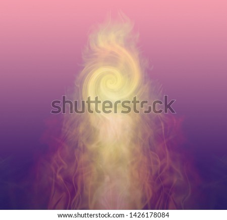 Golden Fibonacci Pale Gold Double Vortex rising up on a purple to pink graduated background with copy space