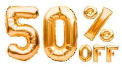 Golden fifty percent sale sign made of inflatable balloons isolated on white. Helium balloons, gold foil numbers. Sale decoration, black friday, discount concept. 50 percent off, advertisement.