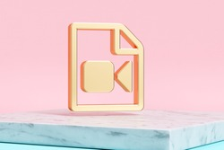 Golden File Video Icon on Pink Background . 3D Illustration of Golden Camera, File, Film, Movie, Recording, Video Icons on Pink Color With White Marble.