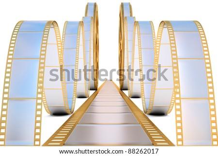 golden film reel. isolated on white.