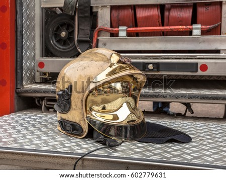 Golden Fire Brigade Helmet and Other Inventory of a Fire Engine