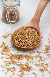 Golden flax seeds. Micronutrient beneficial for the organism that prevents and cures ailments. Rich in fiber and nutrients.