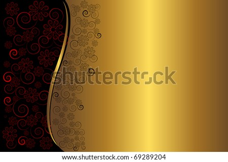 Golden floral background.