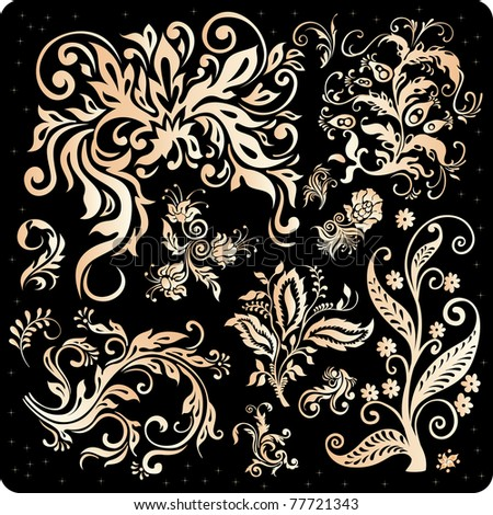 golden floral elements isolated on black #77721343