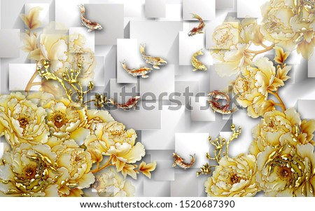 golden flowers with golden fish