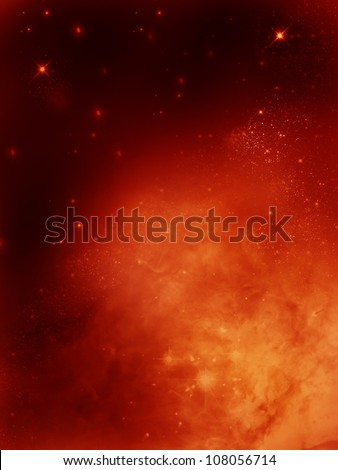 golden fog space  star-field  nebula and planet