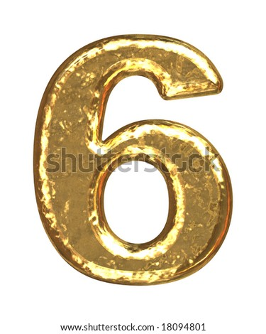 Golden font. Number six.