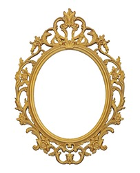 Golden frame for paintings, mirrors or photo isolated on white background. Design element with clipping path