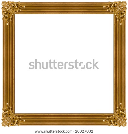 Golden Frame isolated on white background