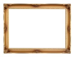 golden frame isolated on white background. Decorative vintage frames and borders,clipping path