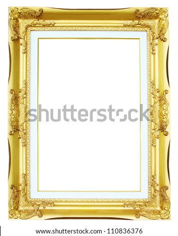 golden frame picture on white background