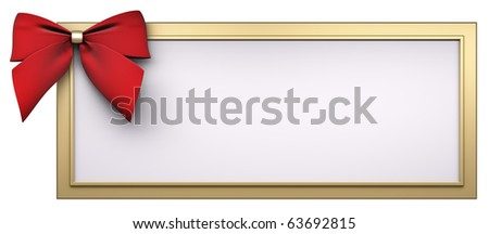 Golden frame with red ribbon bow isolated over white 3d render