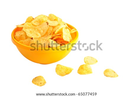Golden fresh chips in yellow bowl, on white