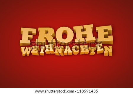 Golden Frohe Weihnachten (Merry Christmas in german) text on a red background (3d illustration)