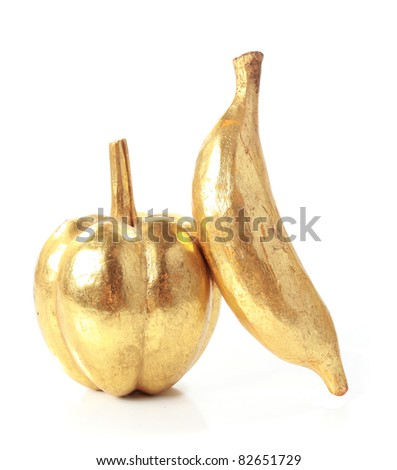 Golden fruit isolated on white background