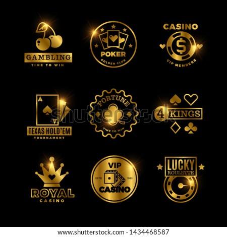 Golden gambling, casino, poker royal tournament, roulette labels, emblems, logos and badges. Win game poker card, emblem lucky gambling illustration