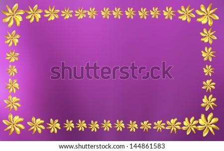 golden gardenia flower, Gardenia carinata Wallich sort frame on pink background