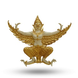 Golden Garuda spreading his wings isolated on white background. This has clipping path.