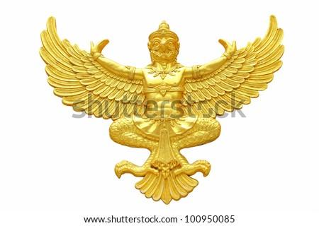 Golden garuda statue isolated on white background