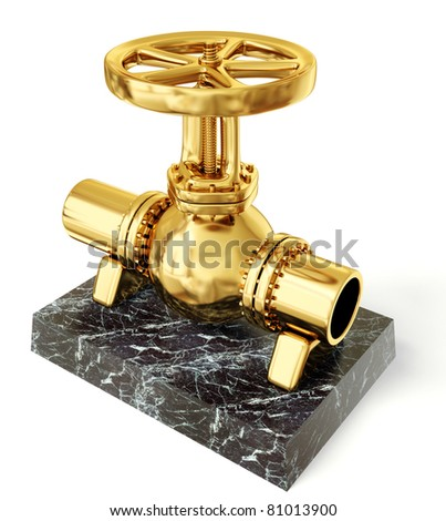 golden gas valve on a white background