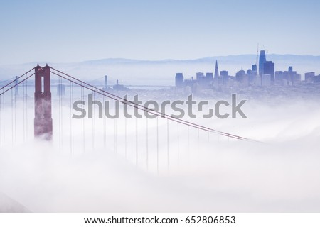 Golden Gate and the San Francisco bay covered by fog, the financial district skyline in the background, the Salesforce tower almost finished, as seen from the Marin Headlands State Park, California