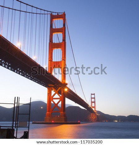 Golden Gate at night. San Francisco, USA