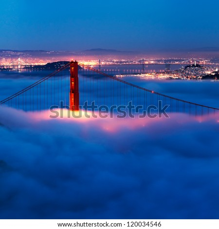 Golden Gate at night surrounded by fog