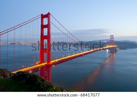 Golden Gate at twilight time.