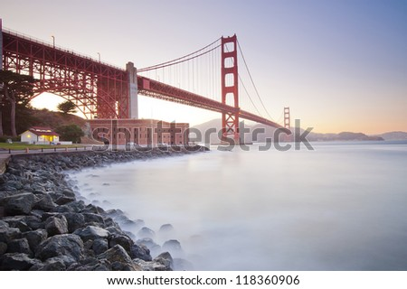 Golden Gate Bride at sunset. San Francisco, California, USA