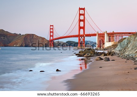 Golden Gate Bridge after sunset, San Francisco