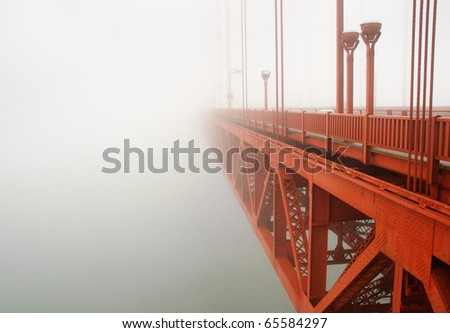 Golden Gate Bridge and cables in fog