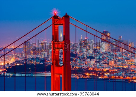 Golden Gate Bridge and downtown San Francisco - stock photo